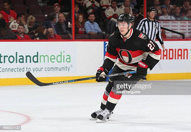Curtis Lazar of the Ottawa Senators skates against the Winnipeg Jets at Canadian Tire Centre on November 5 2015 in Ottawa Ontario Canada