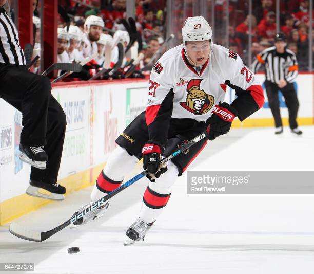 Curtis Lazar of the Ottawa Senators skates in an NHL hockey game against the New Jersey Devils at Prudential Center on February 21 2017 in Newark New...