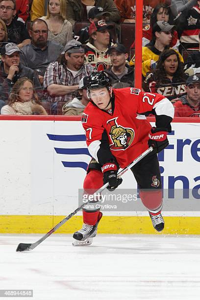 Curtis Lazar of the Ottawa Senators skates with the puck against the Pittsburgh Penguins at Canadian Tire Centre on April 7 2015 in Ottawa Ontario...