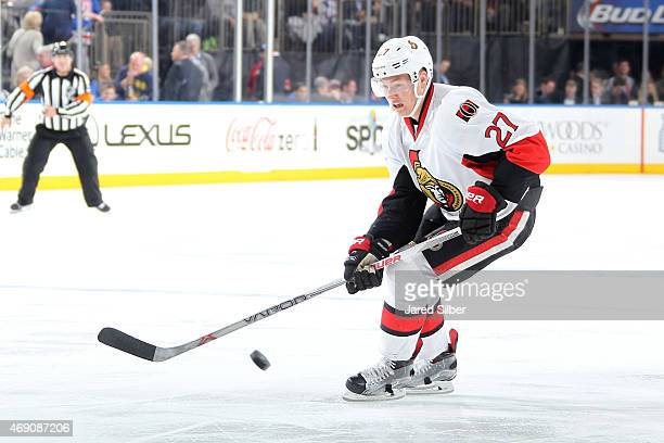 Curtis Lazar of the Ottawa Senators skates with the puck against the New York Rangers at Madison Square Garden on April 9 2015 in New York City