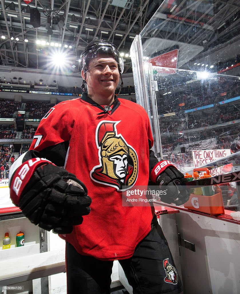 <a gi-track='captionPersonalityLinkClicked' href=/galleries/search?phrase=Curtis+Lazar&family=editorial&specificpeople=8636170 ng-click='$event.stopPropagation()'>Curtis Lazar</a> #27 of the Ottawa Senators smiles as he leaves the ice after warmup prior to a game against the Toronto Maple Leafs at Canadian Tire Centre on February 6, 2016 in Ottawa, Ontario, Canada.