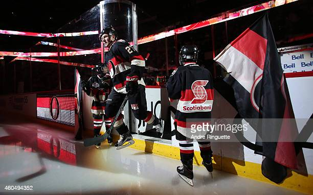 Curtis Lazar of the Ottawa Senators steps onto the ice during player introductions prior to a game against the Los Angeles Kings at Canadian Tire...