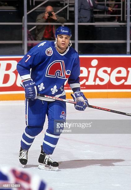 Curtis Leschyshyn of the Quebec Nordiques skates on the ice during an NHL game against the New York Rangers on October 29 1992 at the Madison Square...