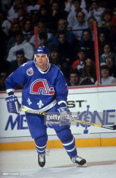 Curtis Leschyshyn of the Quebec Nordiques skates on the ice during an NHL game against the Philadelphia Flyers on January 28 1993 at the Spectrum in...