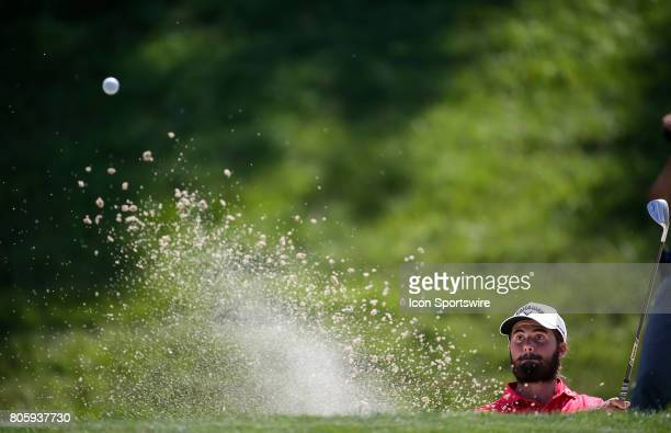 Curtis Luck hits out of a sand trap around the 9th green during the final round of the Quicken Loans National on July 02 2017 at TPC Potomac at...