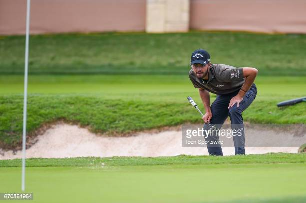Curtis Luck lines up a putt on 16th hole during the first round of the Valero Texas Open at the TPC San Antonio Oaks Course in San Antonio TX on...