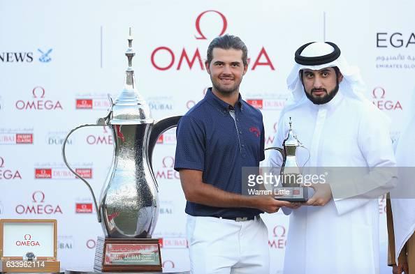 Curtis Luck of Australia is presented the leading amateur trophy by His Highness Shaikh Ahmed Bin Mohammed Bin Rashid Al Maktoum the President of the...