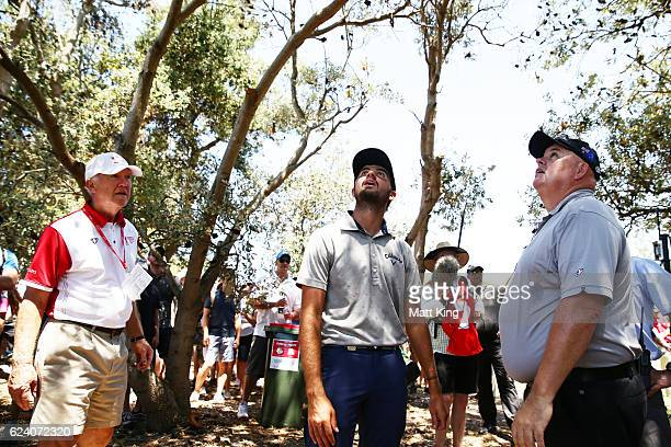 Curtis Luck of Australia looks for his ball up a tree on the 7th hole during day two of the Australian Open at Royal Sydney Golf Club on November 18...