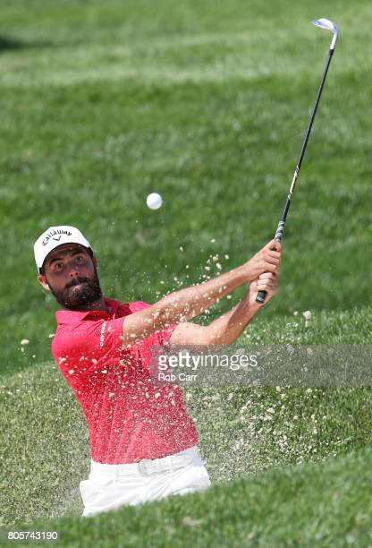 Curtis Luck of Australia plays a shot from a bunker on the eighth hole during the final round of the Quicken Loans National on July 2 2017 TPC...