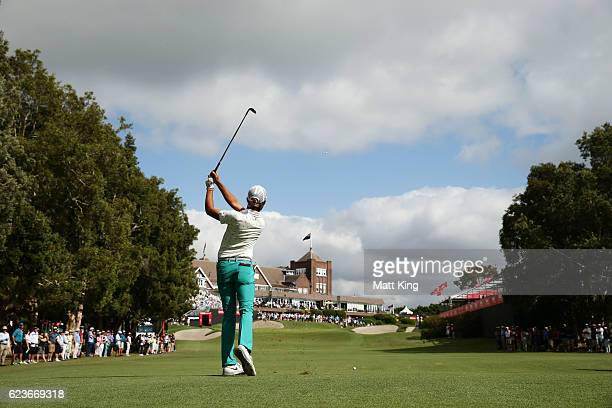 Curtis Luck of Australia plays his approach shot on the 18th hole during day one of the 2016 Australian Open at Royal Sydney Golf Club on November 17...