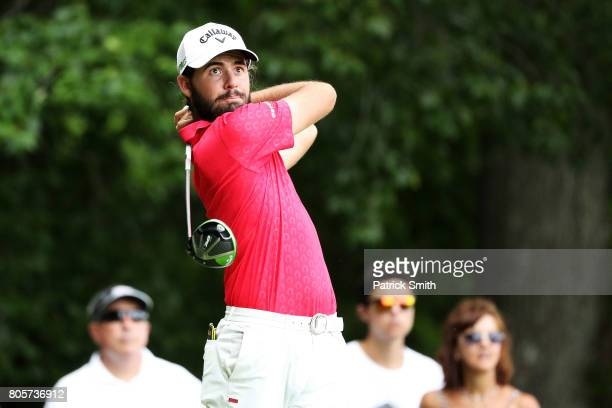 Curtis Luck of Australia plays his shot from the eighth tee during the final round of the Quicken Loans National on July 2 2017 TPC Potomac in...