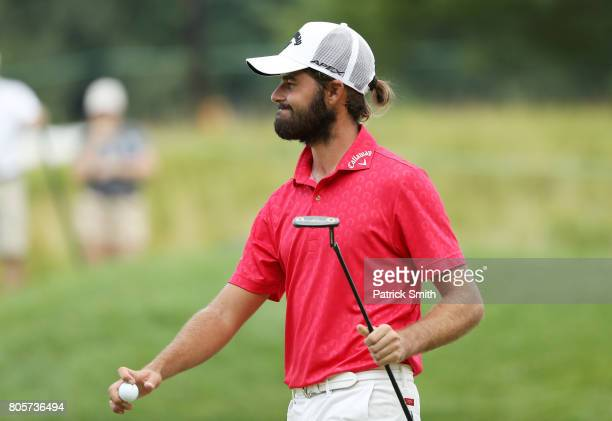 Curtis Luck of Australia reacts on the seventh green during the final round of the Quicken Loans National on July 2 2017 TPC Potomac in Potomac...