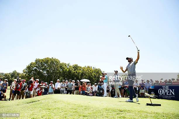 Curtis Luck of Australia tees off on the 5th hole during day two of the Australian Open at Royal Sydney Golf Club on November 18 2016 in Sydney...