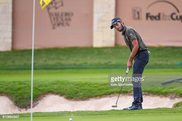 Curtis Luck watches his putt on the 16th hole during the first round of the Valero Texas Open at the TPC San Antonio Oaks Course in San Antonio TX on...