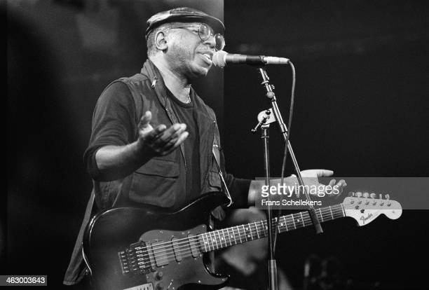 Curtis Mayfield vocal performs at the Paradiso in Amsterdam the Netherlands on 1st April 1990