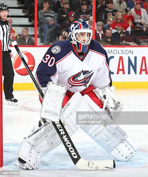 Curtis McElhinney of the Columbus Blue Jackets guards his net against the Ottawa Senators at Canadian Tire Centre on November 19 2015 in Ottawa...