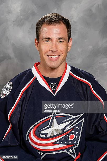 Curtis McElhinney of the Columbus Blue Jackets poses for his official headshot for the 20152016 season at Ohio Health on September 17 2015 in...