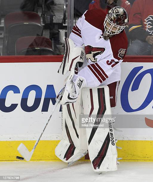 Curtis McElhinney of the Phoenix Coyotes in the pregame warm up before playing the Calgary Flames in NHL preseason action on September 29 2011 at the...