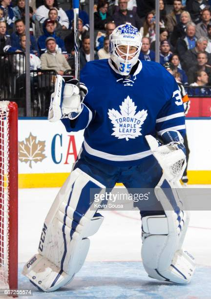 Curtis McElhinney of the Toronto Maple Leafs during an NHL game against the Columbus Blue Jackets at the Air Canada Centre on April 9 2017 in Toronto...