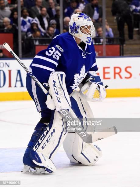Curtis McElhinney of the Toronto Maple Leafs follows the play against the New Jersey Devils during the first period at the Air Canada Centre on March...