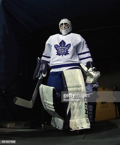 Curtis McElhinney of the Toronto Maple Leafs heads out for warmups prior to the game against the New York Rangers at Madison Square Garden on January...