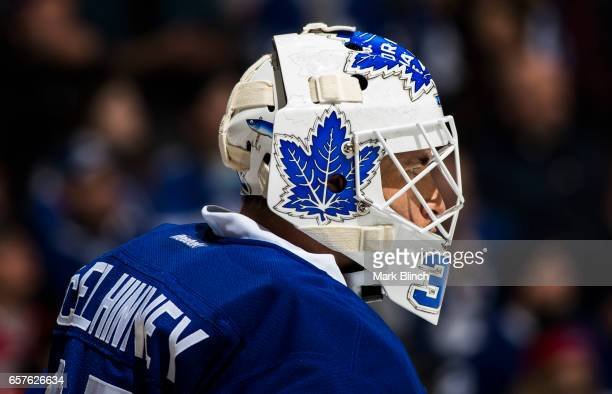 Curtis McElhinney of the Toronto Maple Leafs looks on while playing the New Jersey Devils during the second period at the Air Canada Centre on March...