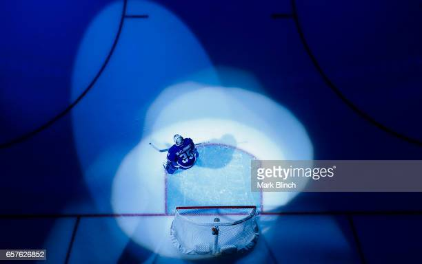 Curtis McElhinney of the Toronto Maple Leafs stretches in the spotlight prior to the game against the New Jersey Devils at the Air Canada Centre on...