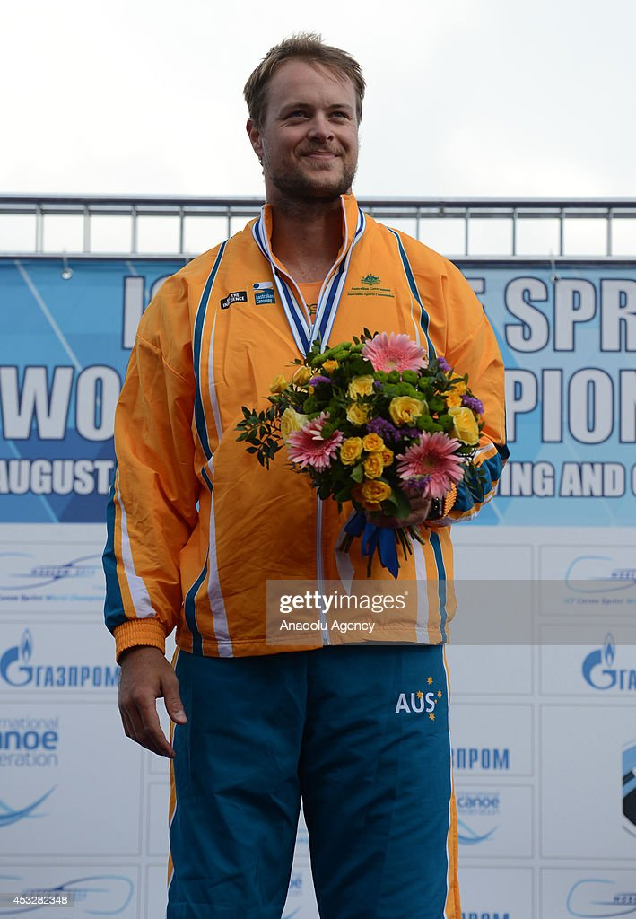 Curtis McGrath of Australia poses with his gold medal after winning the men's V1 (TA) 200m final of the 2014 ICF Canoe Sprint World hampionships in Moscow, Russia on August 6, 2014.