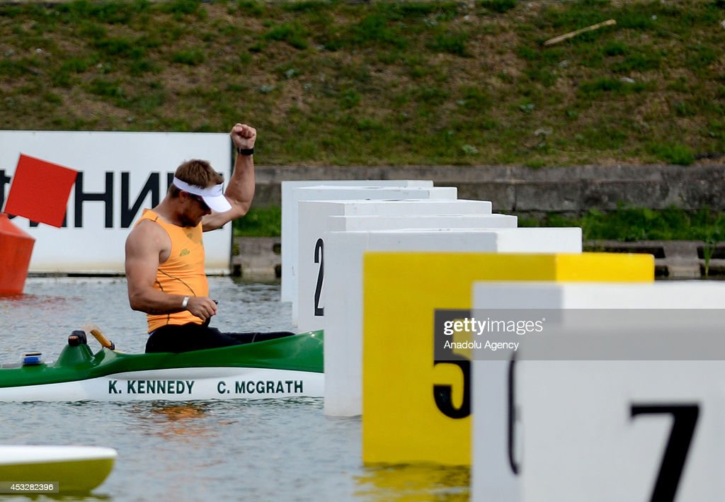 Curtis McGrath of Australia reacts as he wins the men's V1 (TA) 200m final of the 2014 ICF Canoe Sprint World hampionships in Moscow, Russia on August 6, 2014.