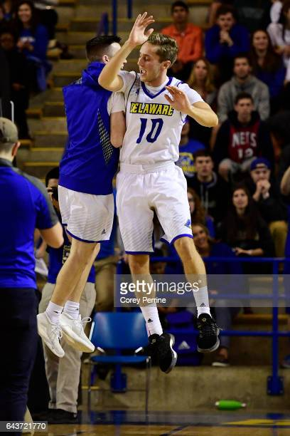 Curtis McRoy bumps with Curtis Lochner of the Delaware Fightin Blue Hens during introductions against the William Mary Tribe at the Bob Carpenter...