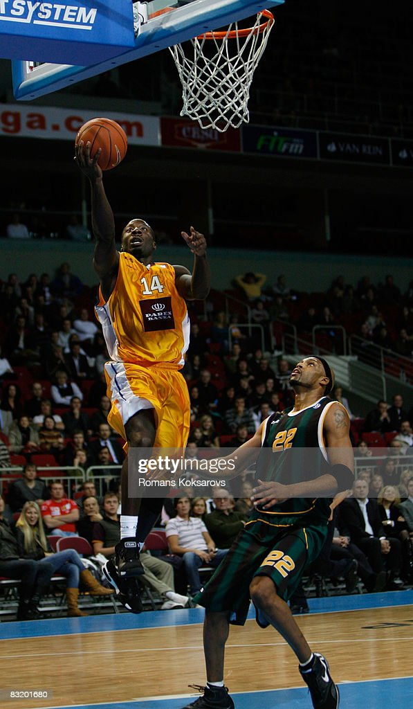 Curtis Millage #14 of ASK Riga and Marcus Faison #22 of BC Kyiv in action during the ULEB Cup Game 7 between ASK Riga and BC Kyiv at the Arena Riga on December 19, 2007 in Riga, Latvia.