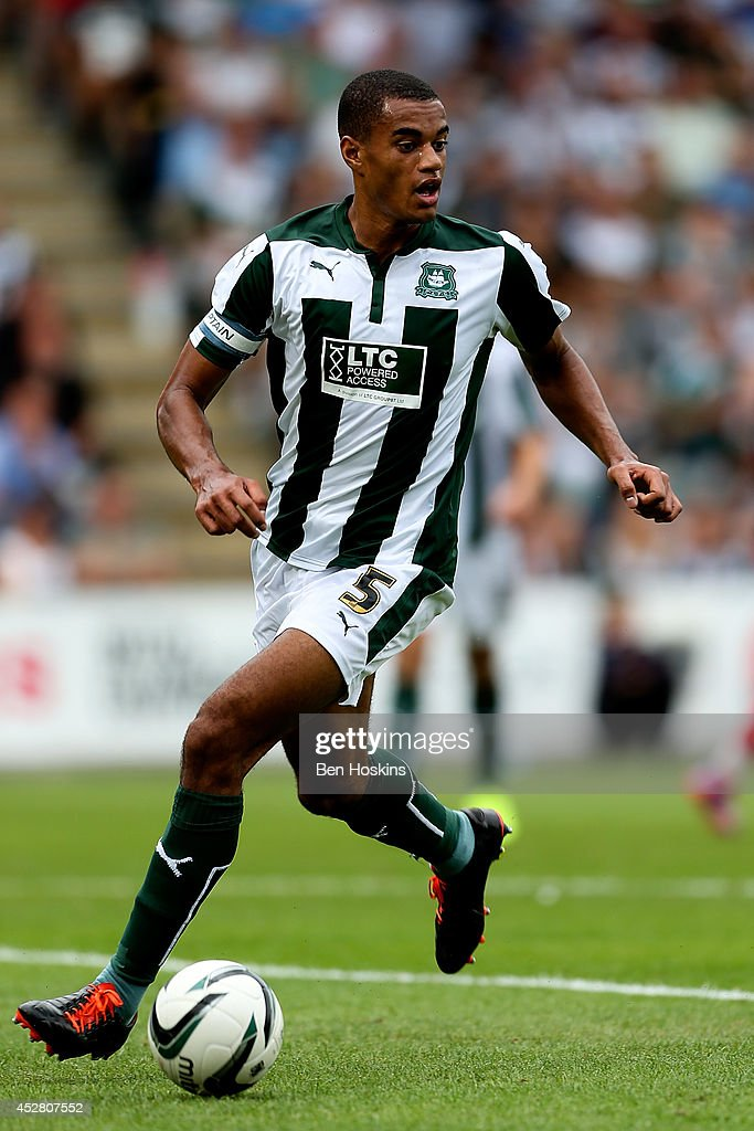 Curtis Nelson Of Plymouth In Action During The Pre Season Friendly Between Argyle And Swansea