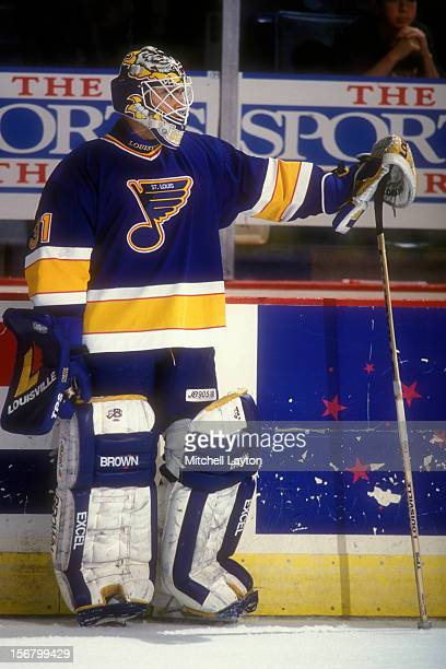 Curtis of the St Louis Blues looks on during warm ups of a hockey game against the Washington Capitals on November 24 1993 at USAir Arena in Landover...