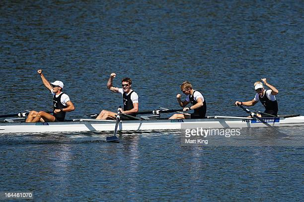 Curtis Rapley Peter Taylor James Hunter and James Lassche of New Zealand celebrate winning the men's Lightweight Four Final during day 3 of the 2013...