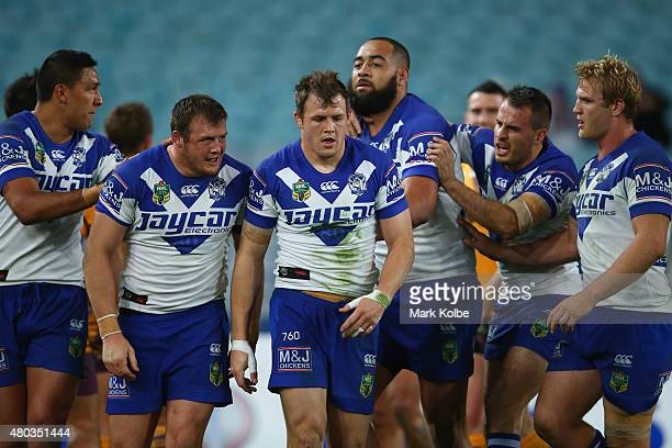 Curtis Rona Josh Morris Brett Morris Sam Kasiano Josh Reynolds and Aiden Tolman of the Bulldogs celebrate after Josh Morris scored a try during the...