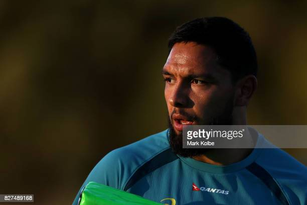Curtis Rona looks on during an Australian Wallabies training session at Cessnock Sportsground on August 8 2017 in Newcastle Australia