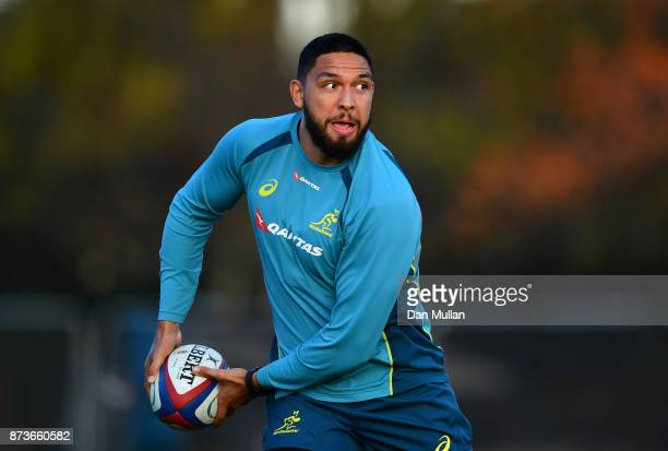 Curtis Rona of Australia looks for a pass during a training session at the Lensbury Hotel on November 13 2017 in London England