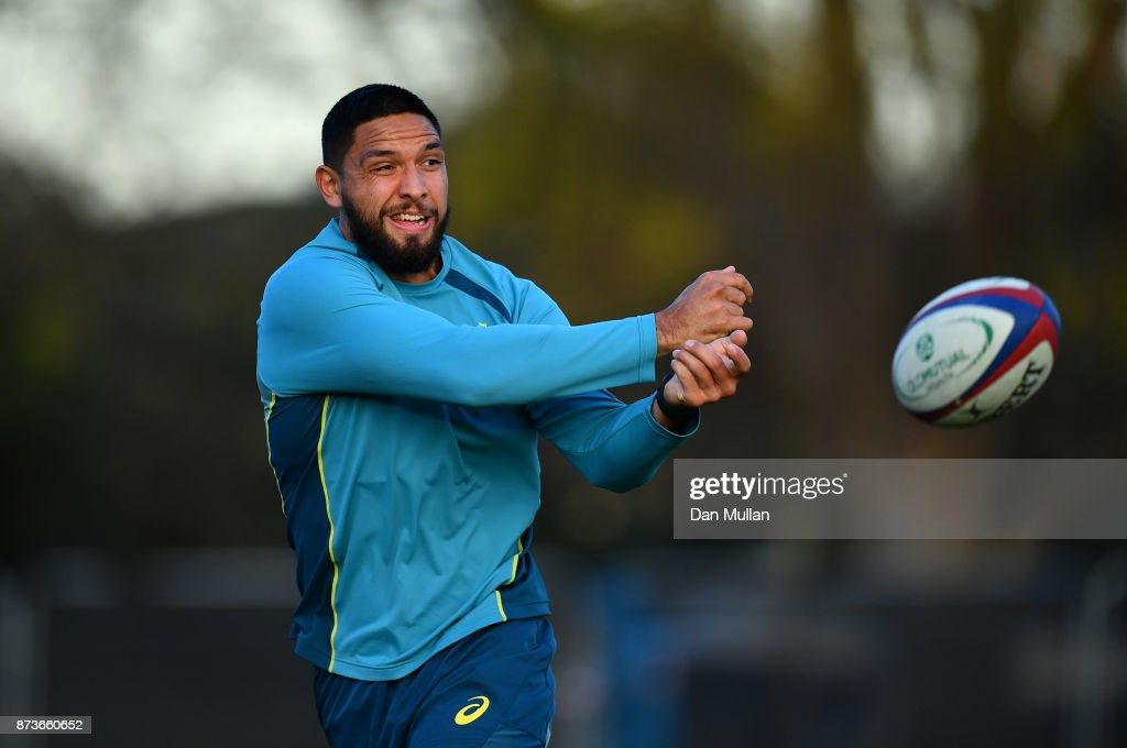 Curtis Rona of Australia releases a pass during a training session at the Lensbury Hotel on November 13, 2017 in London, England.