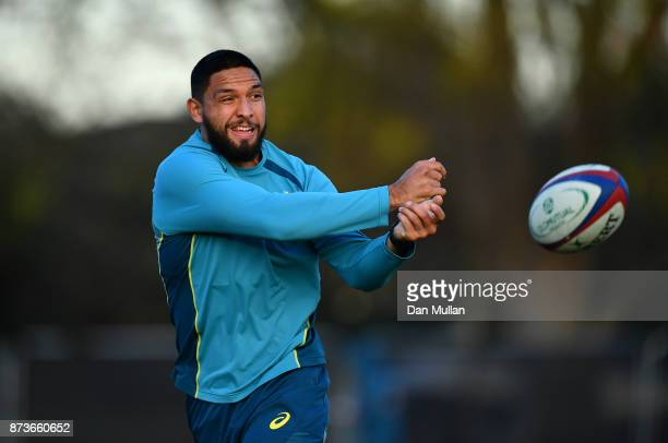 Curtis Rona of Australia releases a pass during a training session at the Lensbury Hotel on November 13 2017 in London England