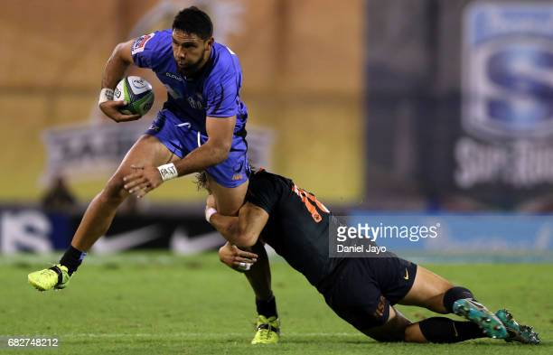 Curtis Rona of Force is tackled by Bautista Ezcurra of Jaguares during a match between Jaguares v Force as part of Super Rugby Rd 12 at Jose...
