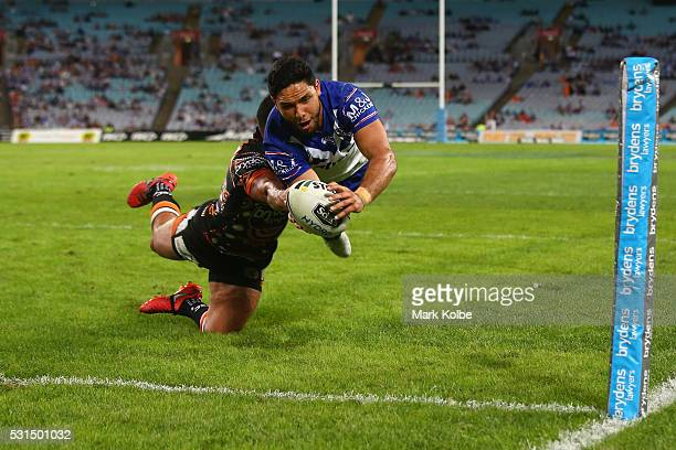Curtis Rona of the Bulldogs dives over to score a try during the round 10 NRL match between the Wests Tigers and the Canterbury Bulldogs at ANZ...