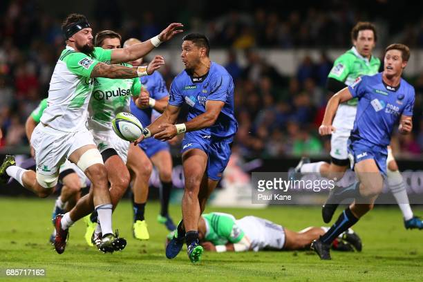 Curtis Rona of the Force offloads the ball during the round 13 Super Rugby match between the Force and the Highlanders at nib Stadium on May 20 2017...