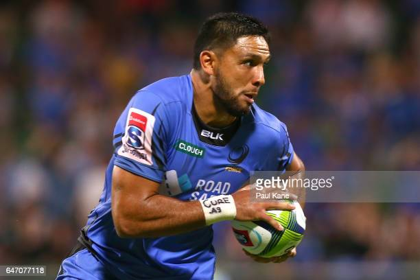 Curtis Rona of the Force runs in for a try during the round two Super Rugby match between the Western Force and the Reds at nib Stadium on March 2...