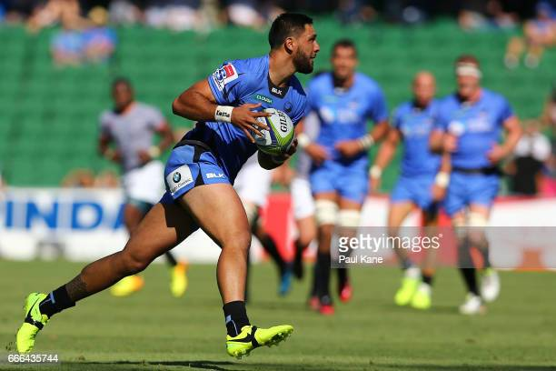 Curtis Rona of the Force runs the ball during the round seven Super Rugby match between the Force and the Kings at nib Stadium on April 9 2017 in...