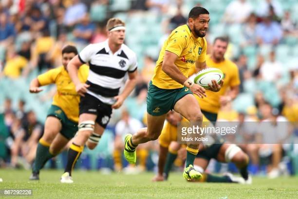 Curtis Rona of the Wallabies makes a break during the match between the Australian Wallabies and the Barbarians at Allianz Stadium on October 28 2017...