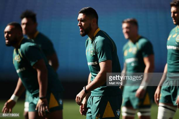 Curtis Rona of the Wallabies takes part in a drill during the Australian Wallabies Captain's Run at ANZ Stadium on August 18 2017 in Sydney Australia