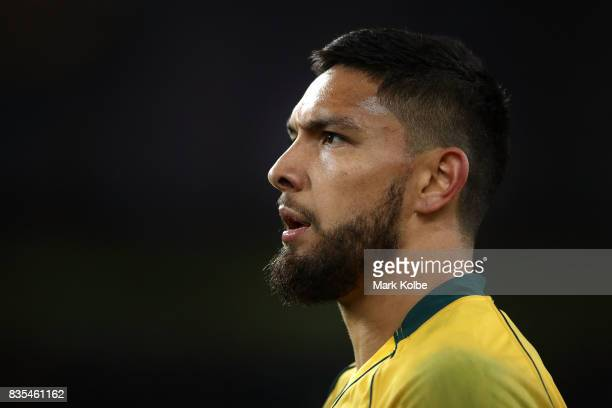 Curtis Rona of the Wallabies watches on during The Rugby Championship Bledisloe Cup match between the Australian Wallabies and the New Zealand All...