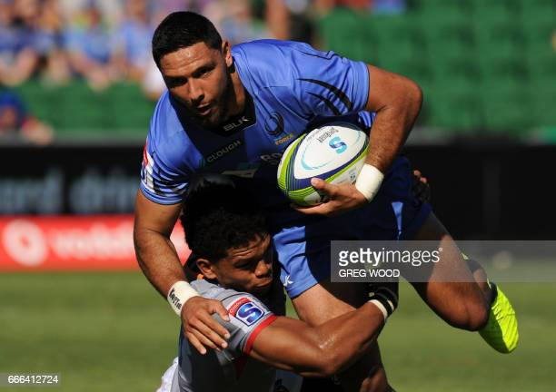 Curtis Rona of the Western Force is tackled during the Super Rugby match between Australias Western Force and South Africas Kings in Perth on April 9...