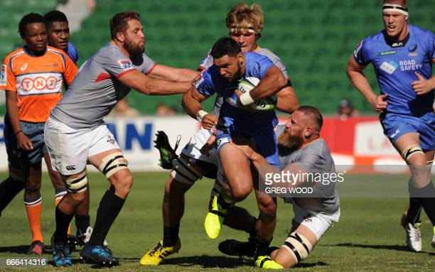 Curtis Rona of the Western Force is tackled during the Super Rugby match between Australia's Western Force and South Africa's Kings in Perth on April...