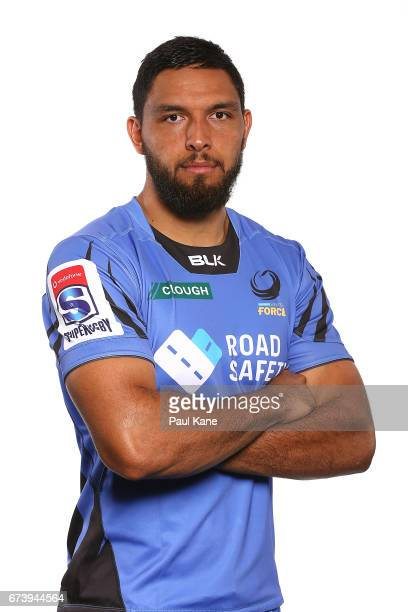 Curtis Rona poses during a Western Force Super Rugby headshots session at the Rugby WA office on April 27 2017 in Perth Australia